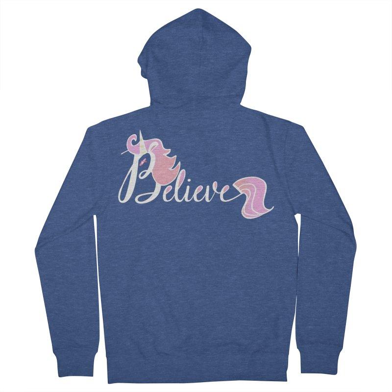 Believe Pink Unicorn Illustration Art Shirt T-Shirt Women's Zip-Up Hoody by Flourish & Flow's Artist Shop