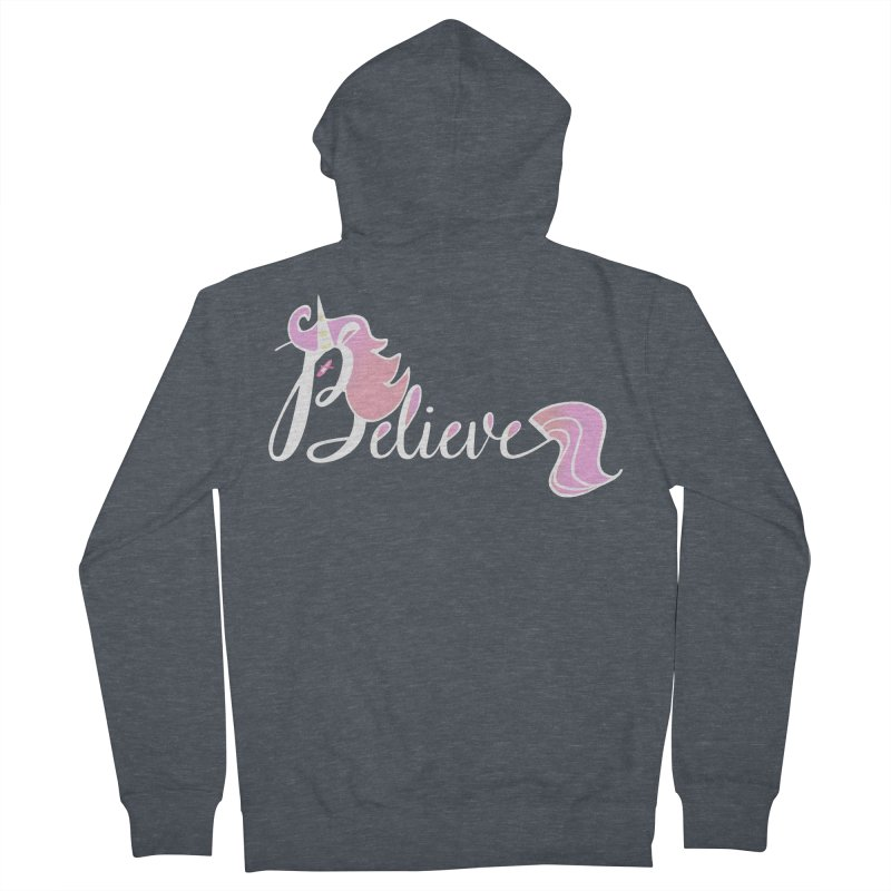 Believe Pink Unicorn Illustration Art Shirt T-Shirt Women's Zip-Up Hoody by Flourish & Flow's Artist Shop