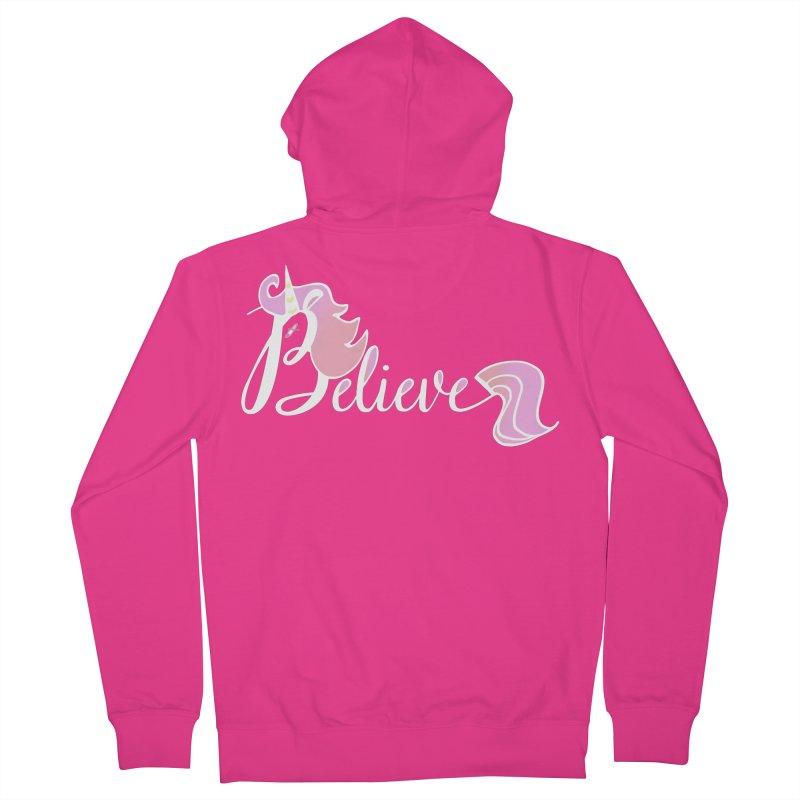 Believe Pink Unicorn Illustration Art Shirt T-Shirt Men's Zip-Up Hoody by Flourish & Flow's Artist Shop