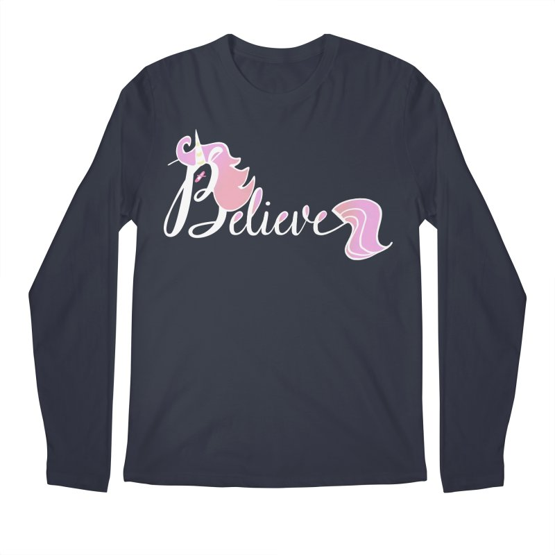Believe Pink Unicorn Illustration Art Shirt T-Shirt Men's Longsleeve T-Shirt by Flourish & Flow's Artist Shop