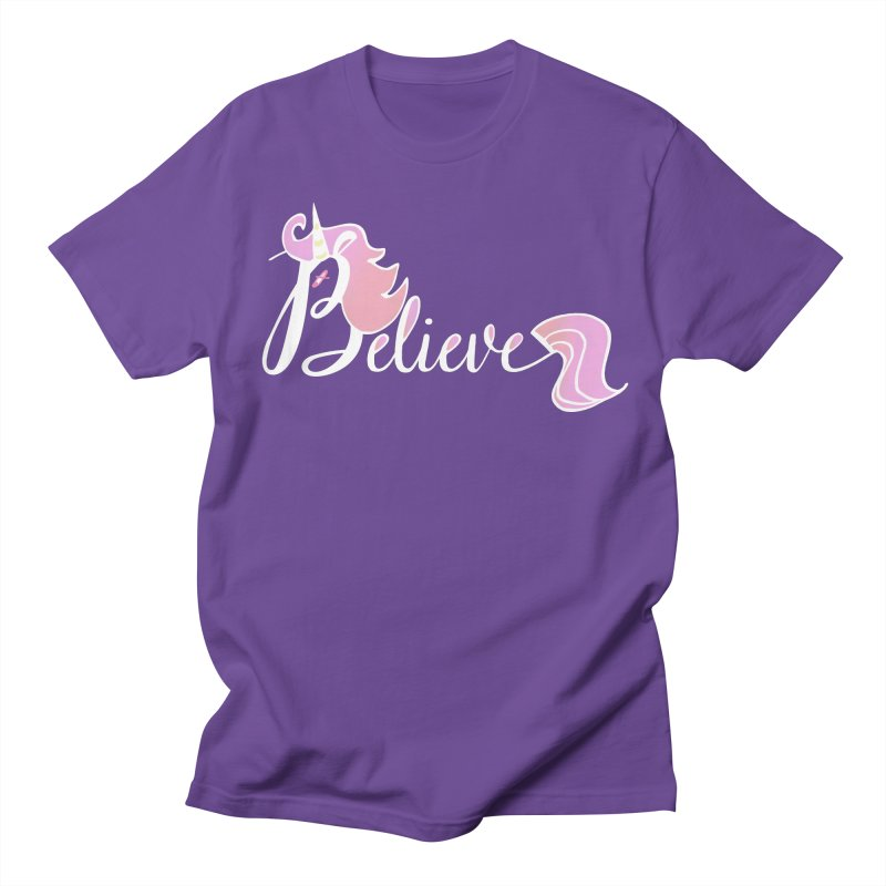 Believe Pink Unicorn Illustration Art Shirt T-Shirt Women's Unisex T-Shirt by Flourish & Flow's Artist Shop
