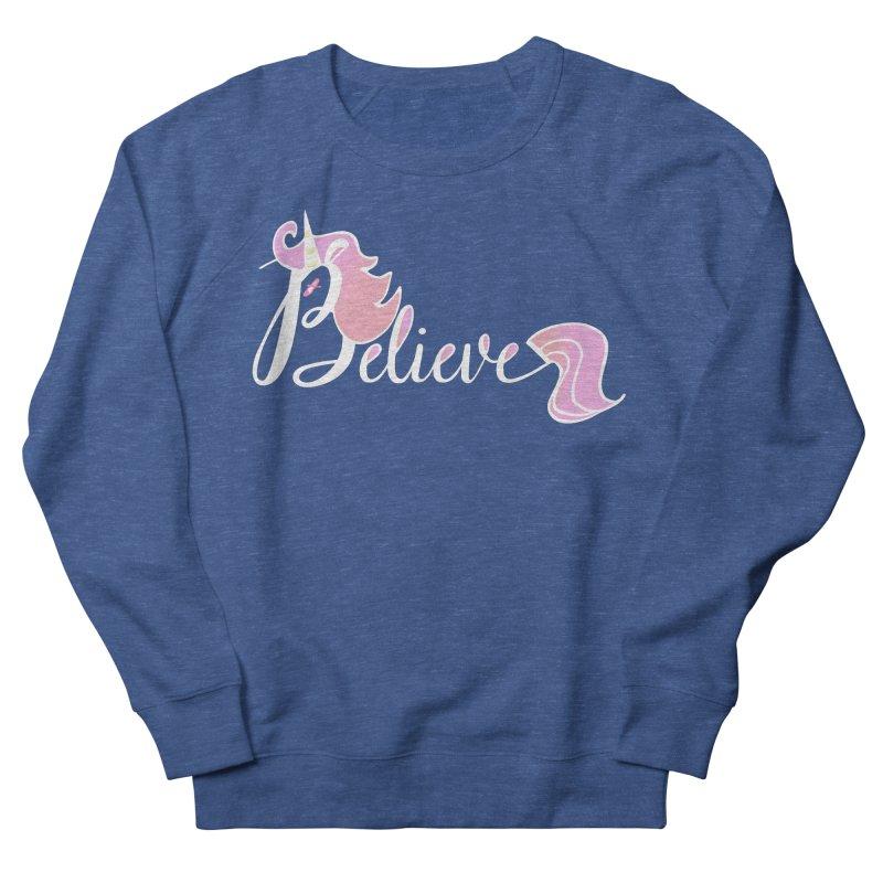 Believe Pink Unicorn Illustration Art Shirt T-Shirt Women's Sweatshirt by Flourish & Flow's Artist Shop