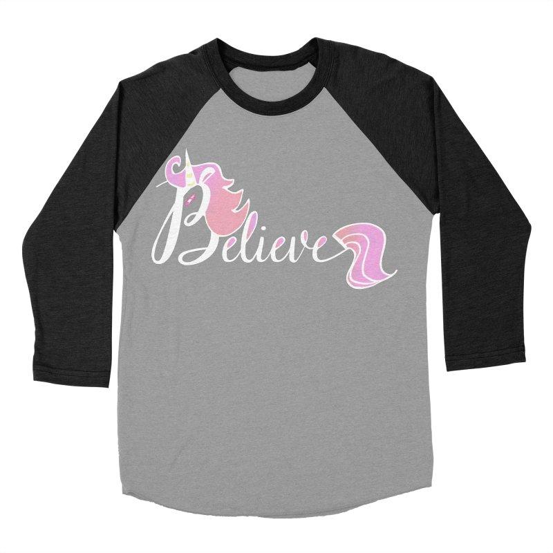 Believe Pink Unicorn Illustration Art Shirt T-Shirt Women's Baseball Triblend T-Shirt by Flourish & Flow's Artist Shop