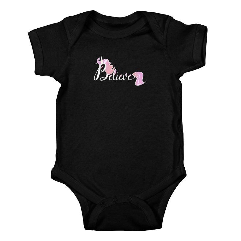 Believe Pink Unicorn Illustration Art Shirt T-Shirt Kids Baby Bodysuit by Flourish & Flow's Artist Shop