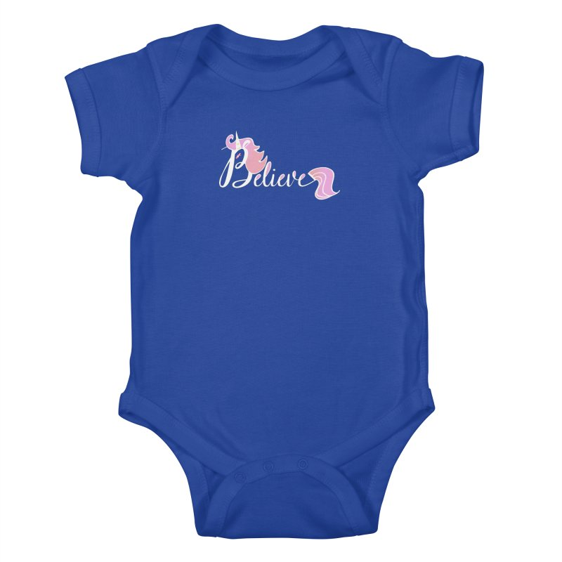Believe Pink Unicorn Illustration Art Shirt T-Shirt Kids Baby Bodysuit by Flourish & Flow's Artist Shop