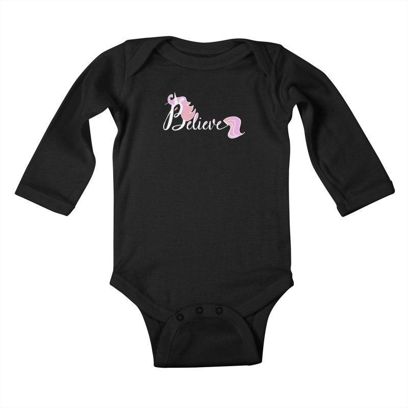 Believe Pink Unicorn Illustration Art Shirt T-Shirt Kids Baby Longsleeve Bodysuit by Flourish & Flow's Artist Shop