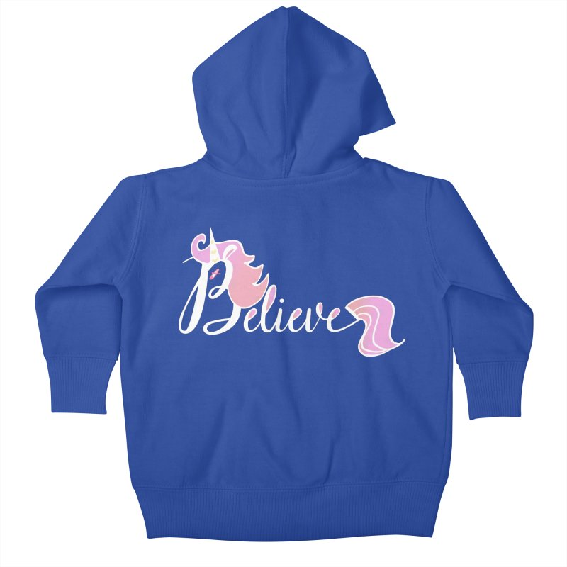 Believe Pink Unicorn Illustration Art Shirt T-Shirt Kids Baby Zip-Up Hoody by Flourish & Flow's Artist Shop