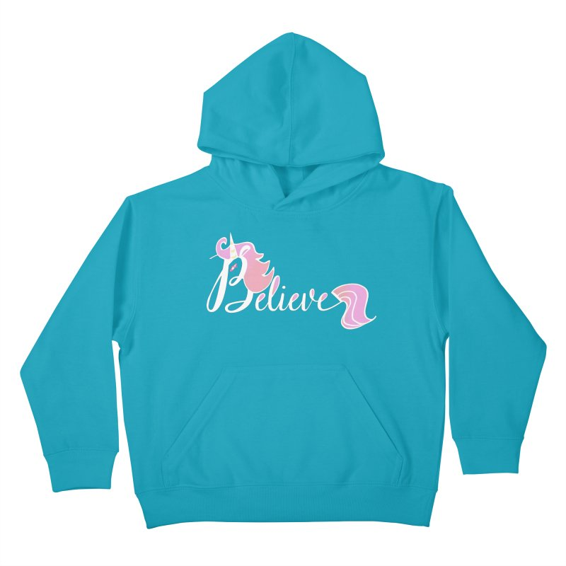 Believe Pink Unicorn Illustration Art Shirt T-Shirt Kids Pullover Hoody by Flourish & Flow's Artist Shop