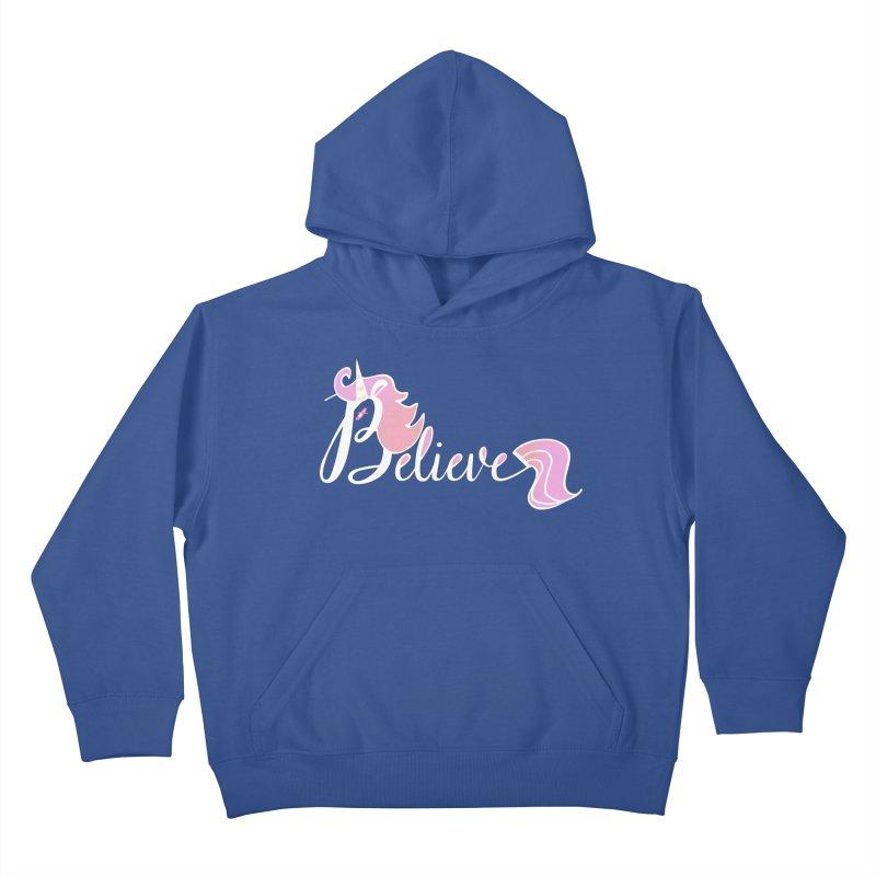Believe Pink Unicorn Illustration Art Shirt T-Shirt Kids Pullover Hoody by Flourish & Flow's Artist Shop