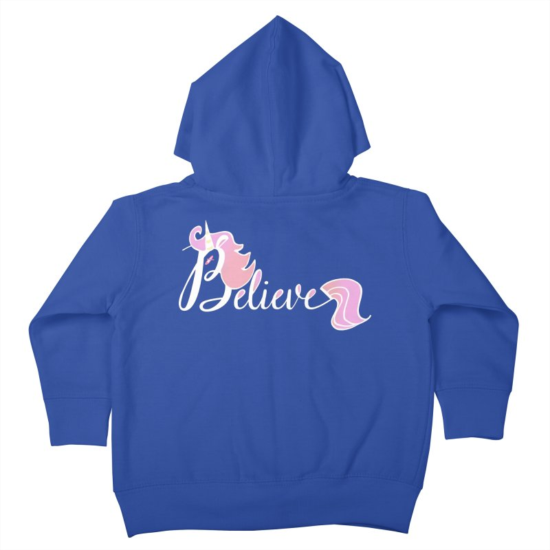 Believe Pink Unicorn Illustration Art Shirt T-Shirt Kids Toddler Zip-Up Hoody by Flourish & Flow's Artist Shop
