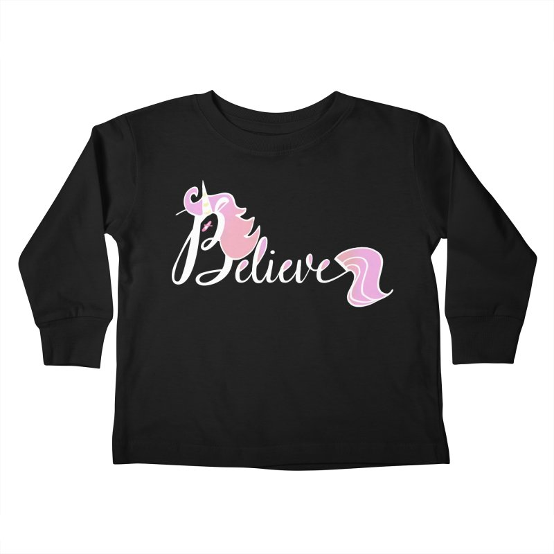 Believe Pink Unicorn Illustration Art Shirt T-Shirt Kids Toddler Longsleeve T-Shirt by Flourish & Flow's Artist Shop