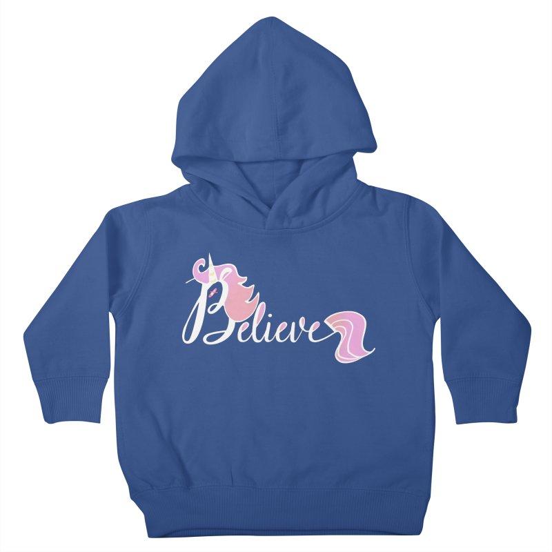 Believe Pink Unicorn Illustration Art Shirt T-Shirt Kids Toddler Pullover Hoody by Flourish & Flow's Artist Shop