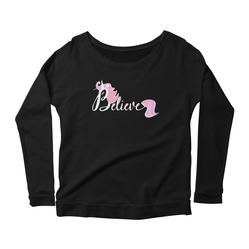 Believe Pink Unicorn Illustration Art Shirt T-Shirt Women's Longsleeve Scoopneck  by Flourish & Flow's Artist Shop