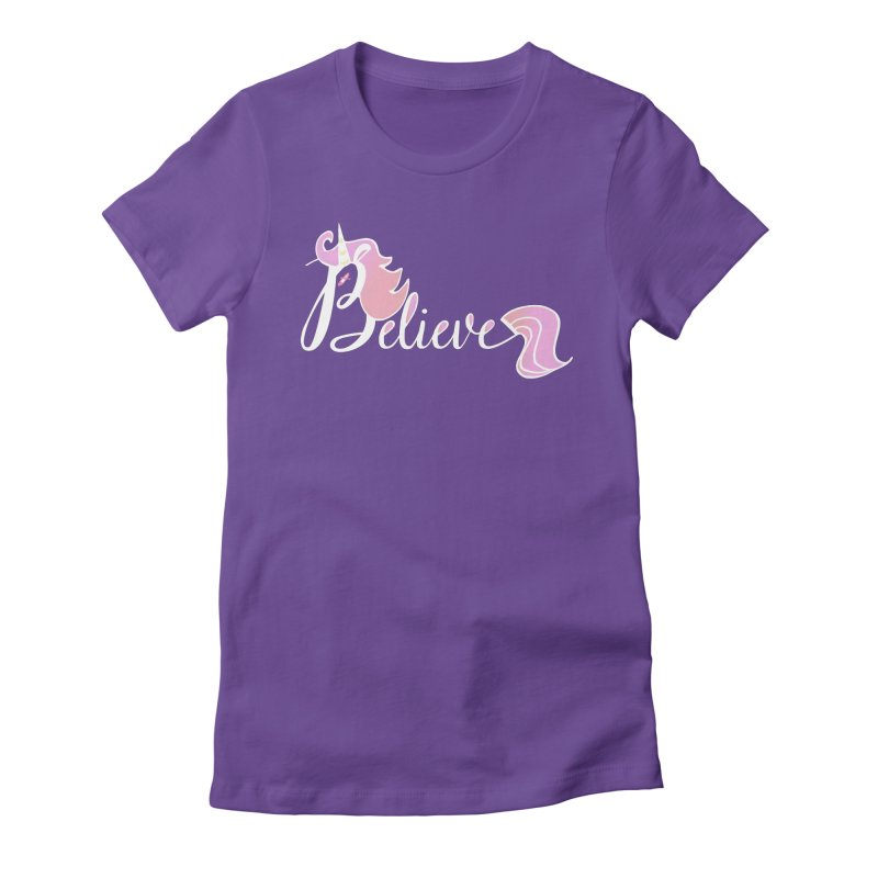 Believe Pink Unicorn Illustration Art Shirt T-Shirt Women's Fitted T-Shirt by Flourish & Flow's Artist Shop