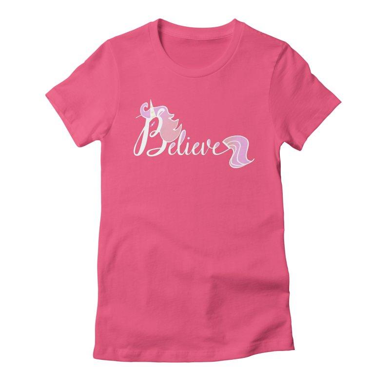 Believe Pink Unicorn Illustration Art Shirt T-Shirt Women's Fitted T-Shirt by Flourish & Flow's Artist Shop