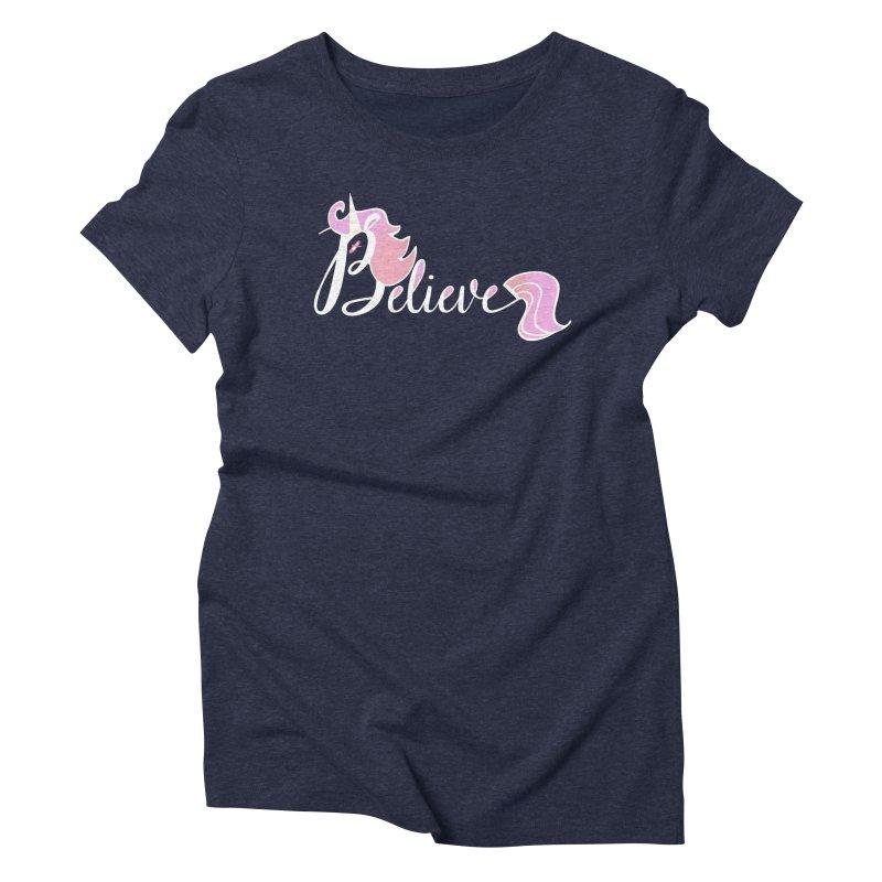 Believe Pink Unicorn Illustration Art Shirt T-Shirt Women's Triblend T-shirt by Flourish & Flow's Artist Shop