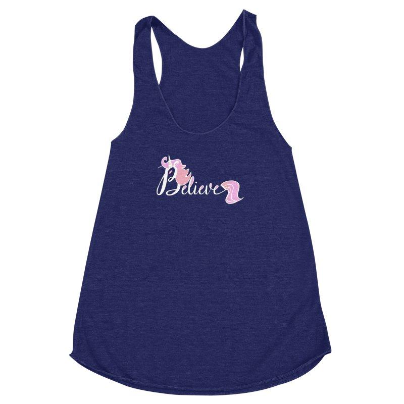 Believe Pink Unicorn Illustration Art Shirt T-Shirt Women's Racerback Triblend Tank by Flourish & Flow's Artist Shop