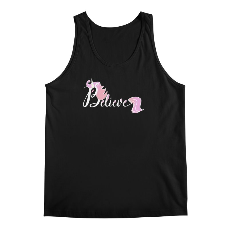 Believe Pink Unicorn Illustration Art Shirt T-Shirt Men's Tank by Flourish & Flow's Artist Shop