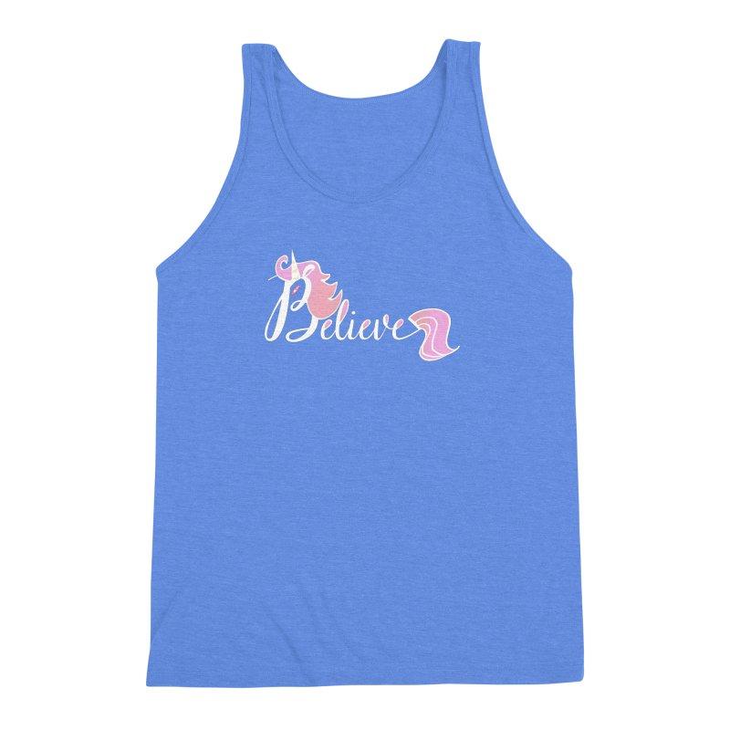 Believe Pink Unicorn Illustration Art Shirt T-Shirt Men's Triblend Tank by Flourish & Flow's Artist Shop