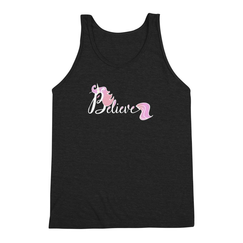 Believe Pink Unicorn Illustration Art Shirt T-Shirt Men's Triblend Tank by Flourish & Flow's Artist Shop