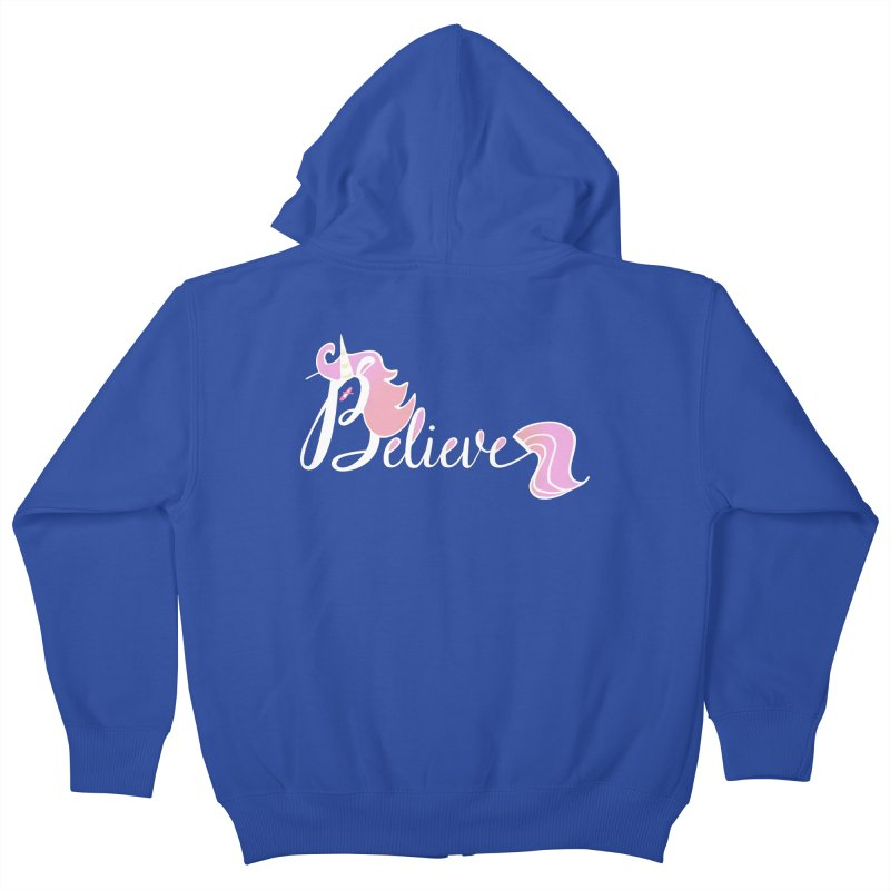 Believe Pink Unicorn Illustration Art Shirt T-Shirt Kids Zip-Up Hoody by Flourish & Flow's Artist Shop