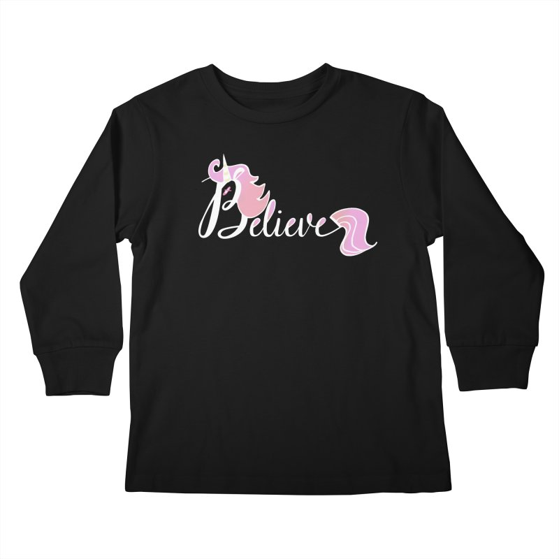 Believe Pink Unicorn Illustration Art Shirt T-Shirt   by Flourish & Flow's Artist Shop