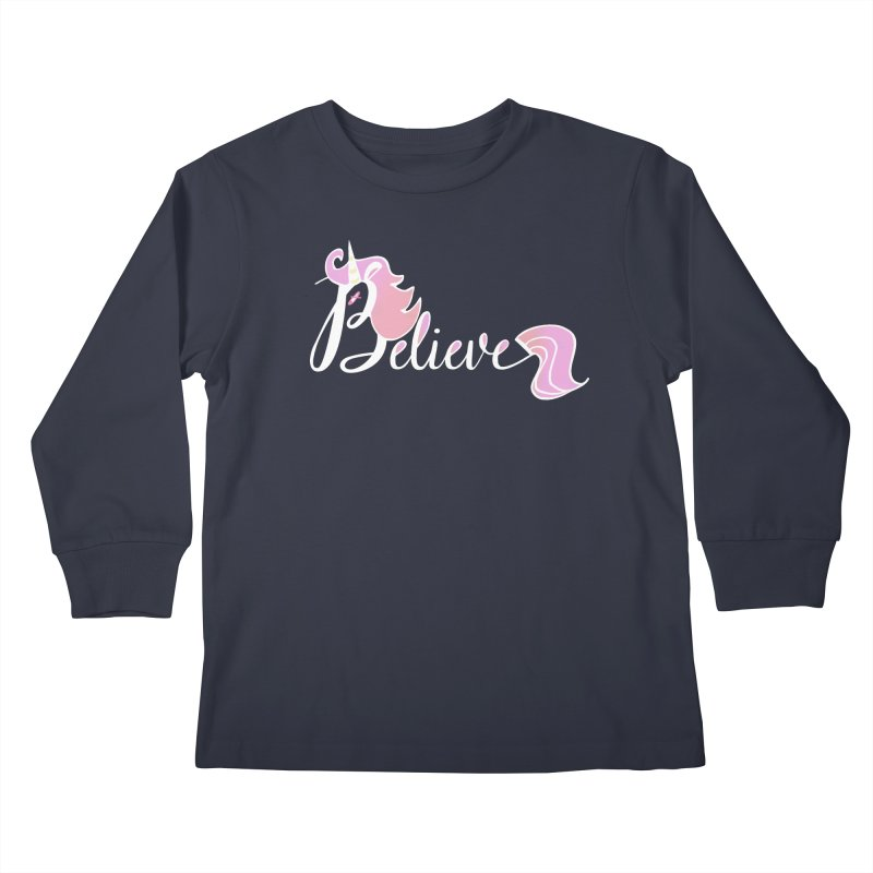 Believe Pink Unicorn Illustration Art Shirt T-Shirt Kids Longsleeve T-Shirt by Flourish & Flow's Artist Shop