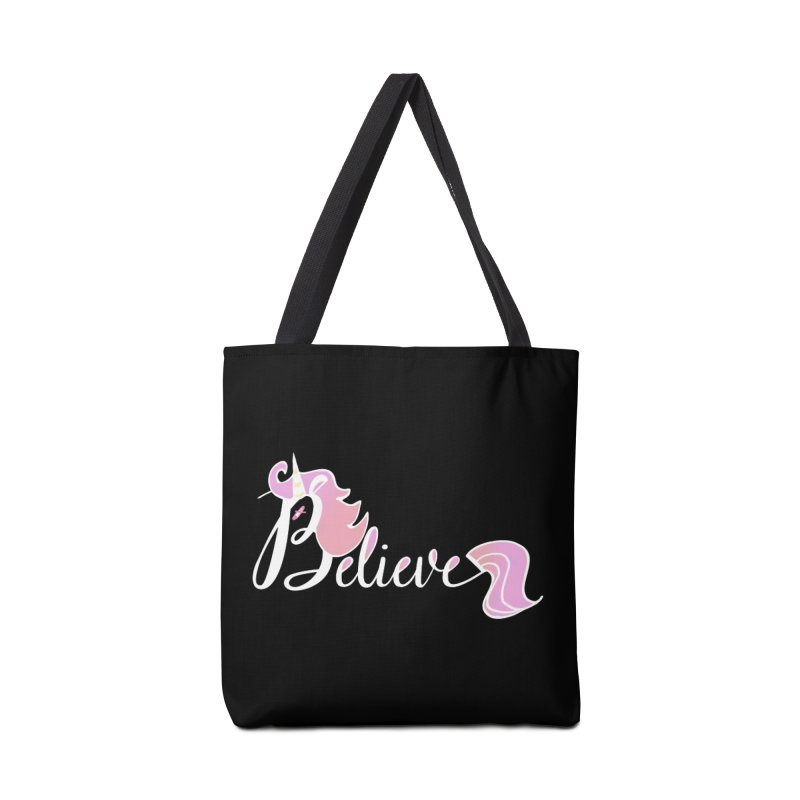 Believe Pink Unicorn Illustration Art Shirt T-Shirt Accessories Bag by Flourish & Flow's Artist Shop