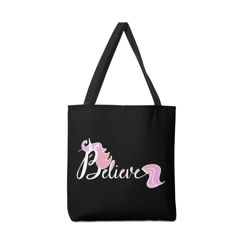 Believe Pink Unicorn Illustration Art Shirt T-Shirt Accessories Bag by Flourish & Flow's Artist Shop