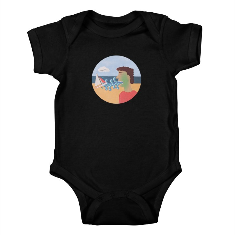 Sea Sick Kids Baby Bodysuit by Flourish & Flow's Artist Shop