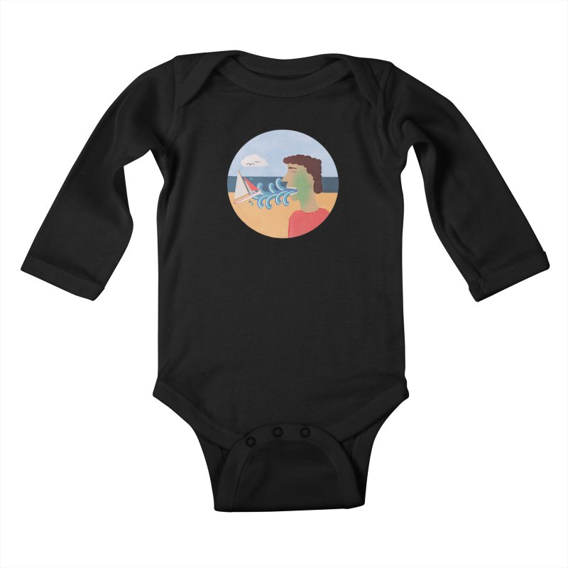 Sea Sick Kids Baby Longsleeve Bodysuit by Flourish & Flow's Artist Shop