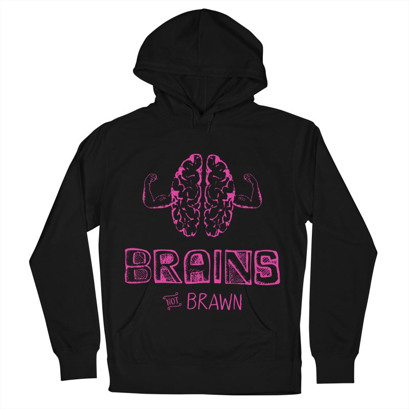 Brains not Brawn Men's French Terry Pullover Hoody by Flourish & Flow's Artist Shop