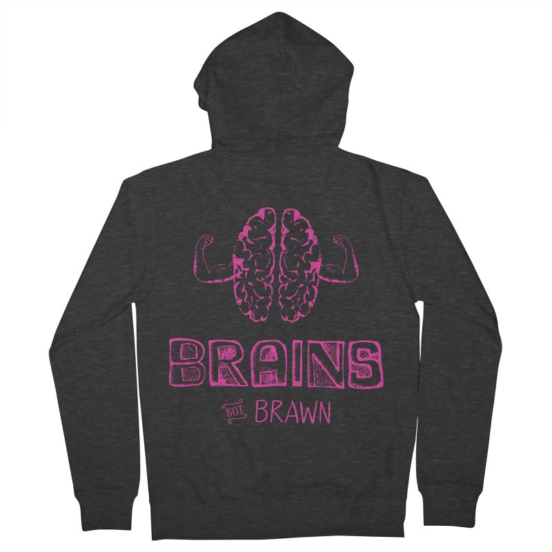 Brains not Brawn Men's Zip-Up Hoody by Flourish & Flow's Artist Shop