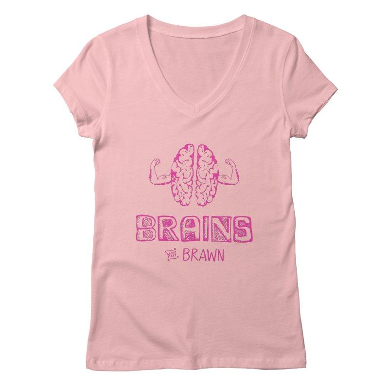 Brains not Brawn Women's Regular V-Neck by Flourish & Flow's Artist Shop
