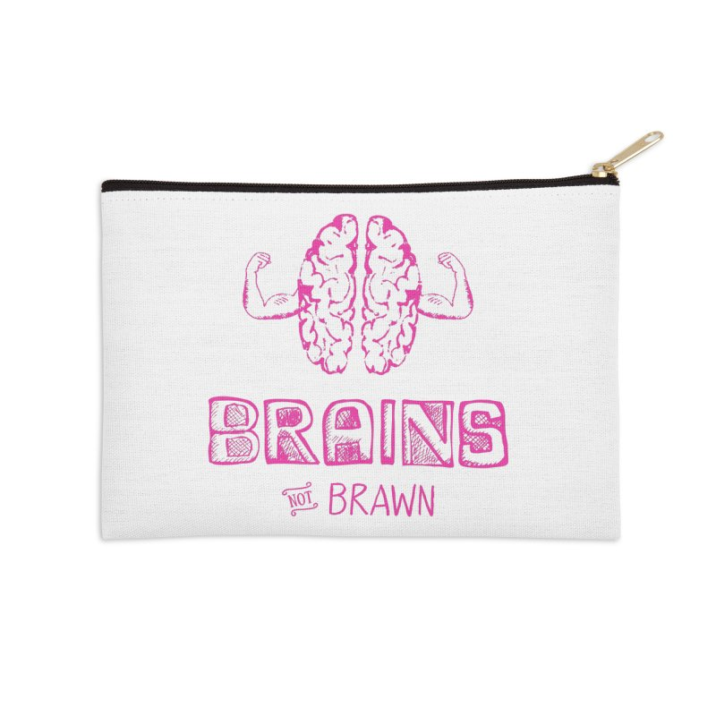 Brains not Brawn Accessories Zip Pouch by Flourish & Flow's Artist Shop