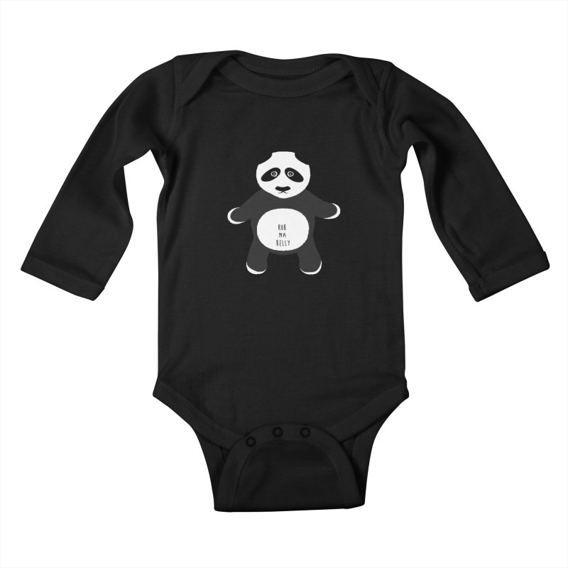 Lucky Panda Kids Baby Longsleeve Bodysuit by Flourish & Flow's Artist Shop