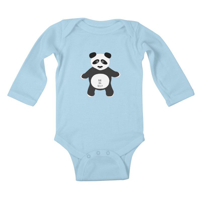 Lucky Panda Kids Baby Longsleeve Bodysuit by Flourish & Flow's Artist Shop