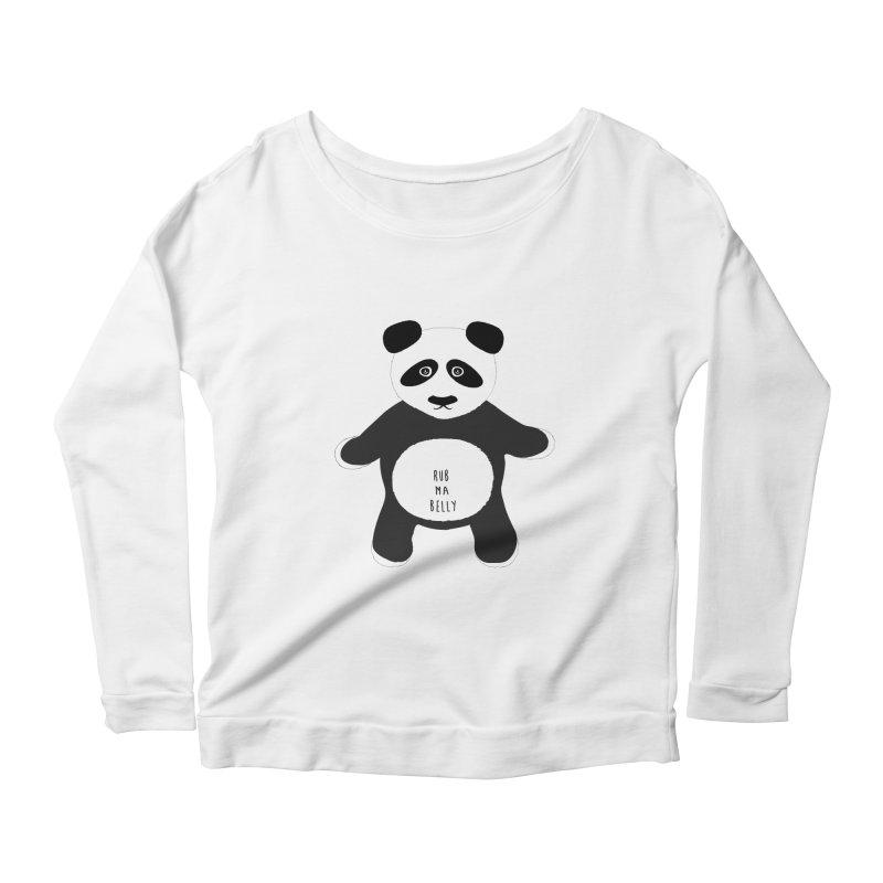 Lucky Panda Women's Longsleeve Scoopneck  by Flourish & Flow's Artist Shop