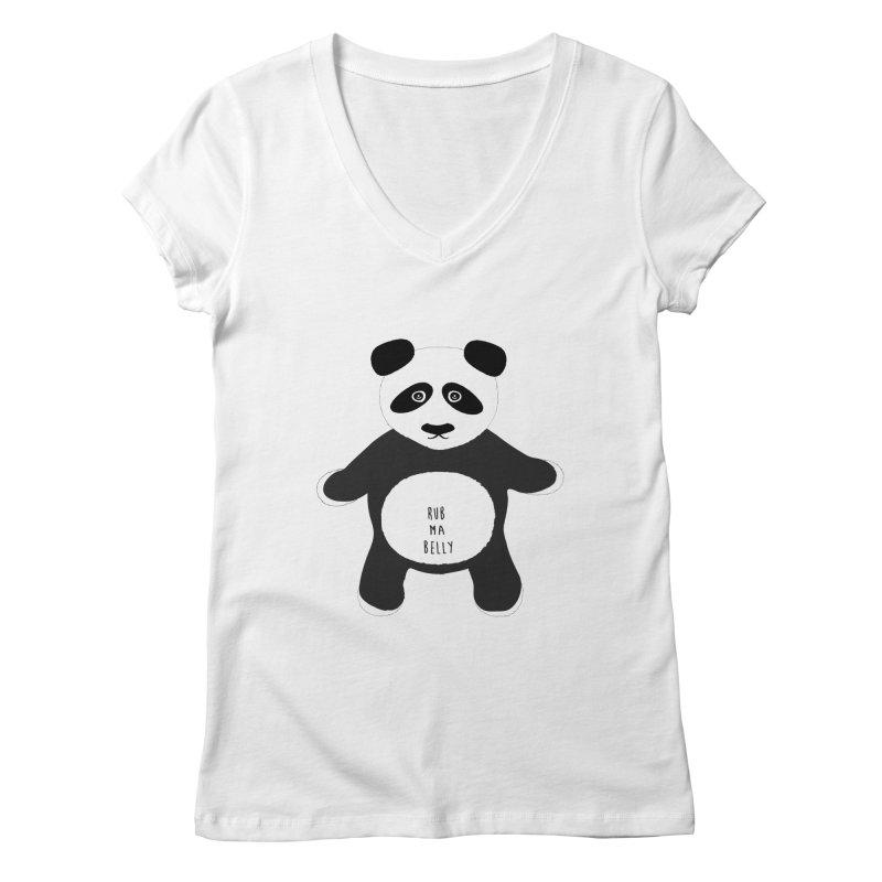 Lucky Panda Women's V-Neck by Flourish & Flow's Artist Shop