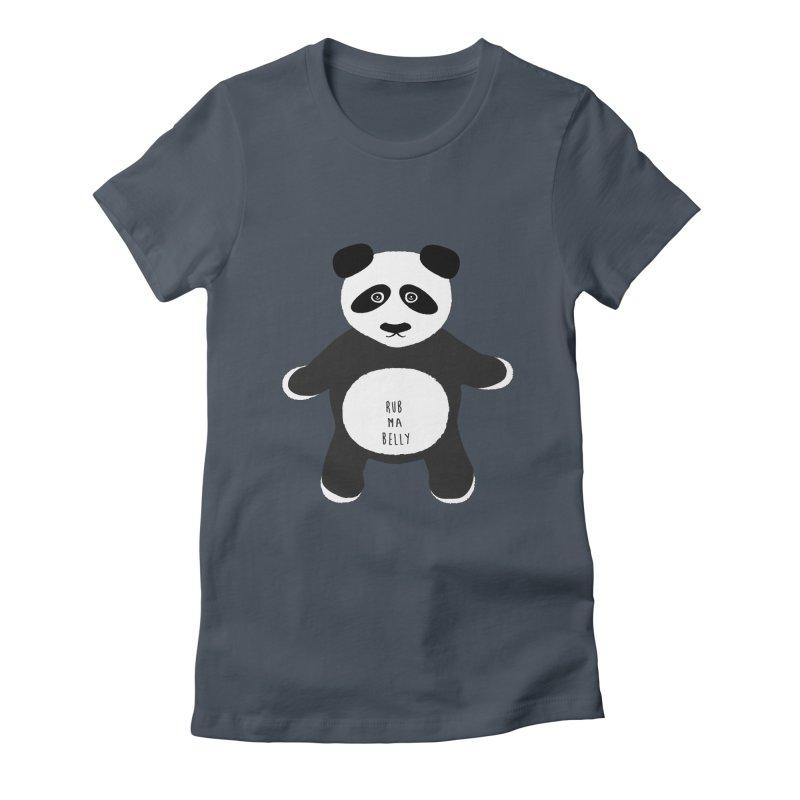 Lucky Panda in Women's Fitted T-Shirt Denim by Flourish & Flow's Artist Shop