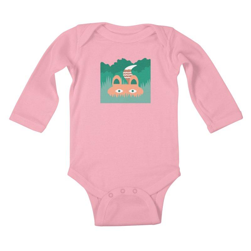 Hide and Seek Fox Kids Baby Longsleeve Bodysuit by Flourish & Flow's Artist Shop