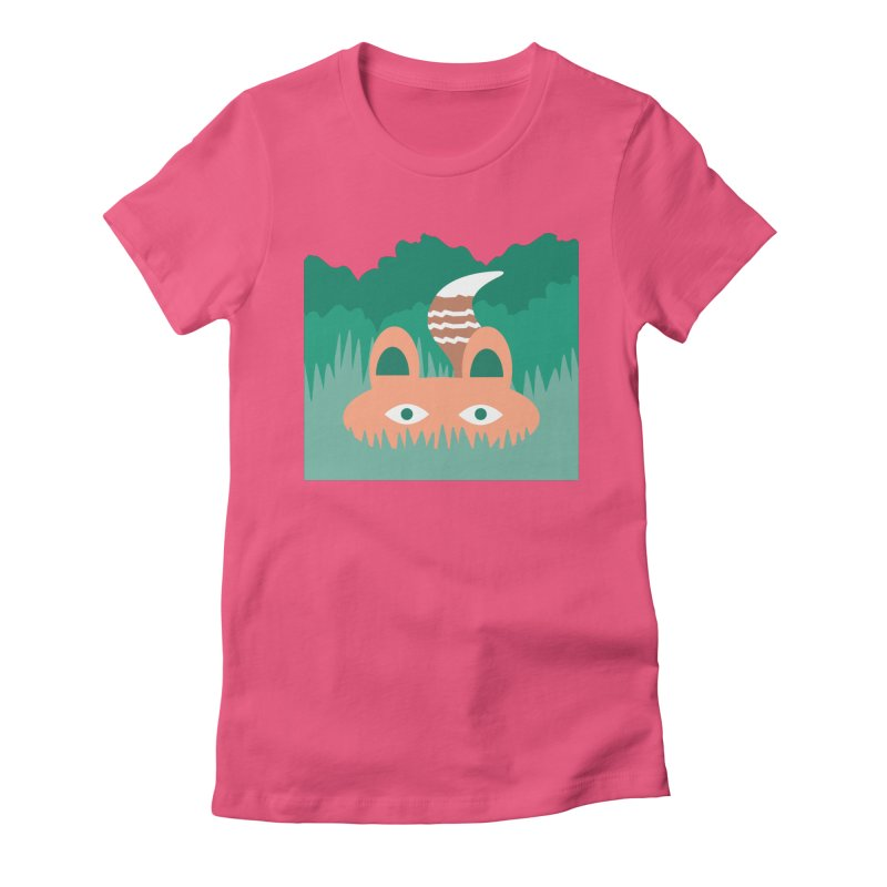 Hide and Seek Fox Women's Fitted T-Shirt by Flourish & Flow's Artist Shop