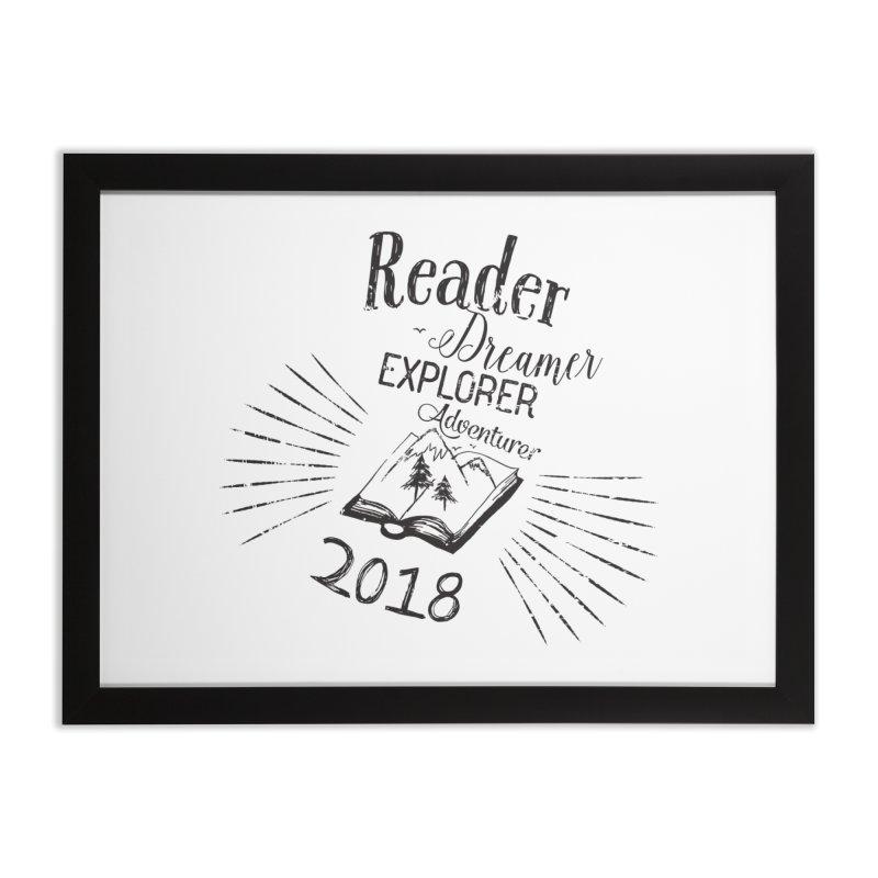 Reader Dreamer Explorer Adventurer 2018 Bookish Quote Home Framed Fine Art Print by Flourish & Flow's Artist Shop