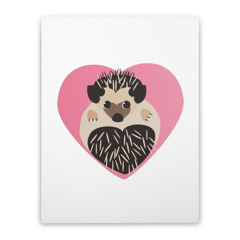 Hedgehog Loves You Home Stretched Canvas by Flourish & Flow's Artist Shop