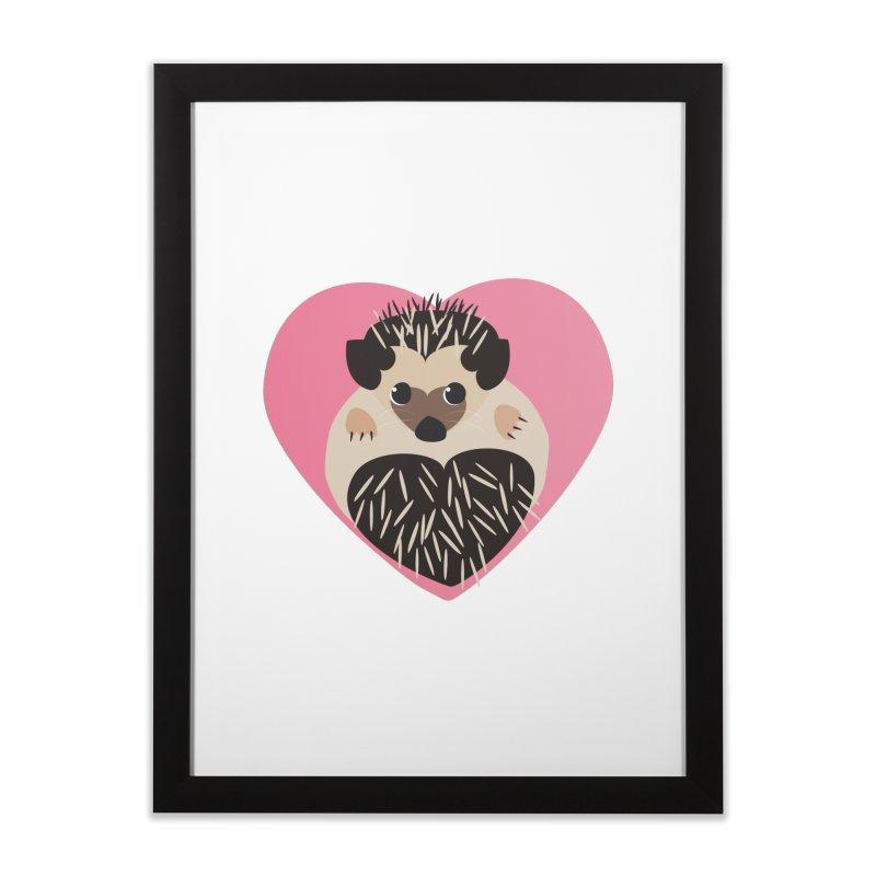 Hedgehog Loves You in Framed Fine Art Print Black by Flourish & Flow's Artist Shop