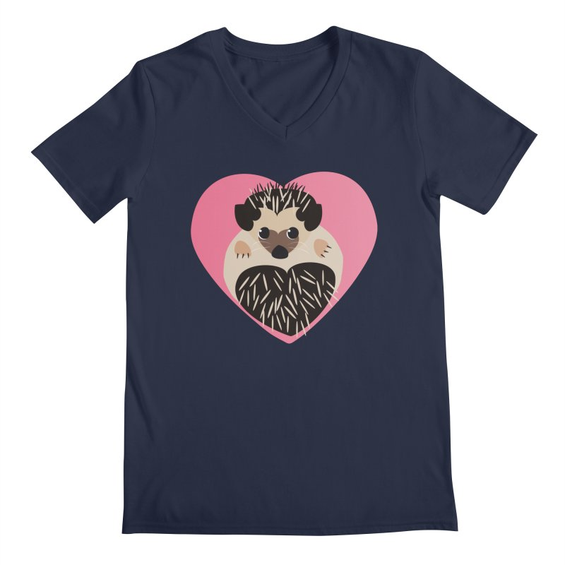 Hedgehog Loves You Men's V-Neck by Flourish & Flow's Artist Shop
