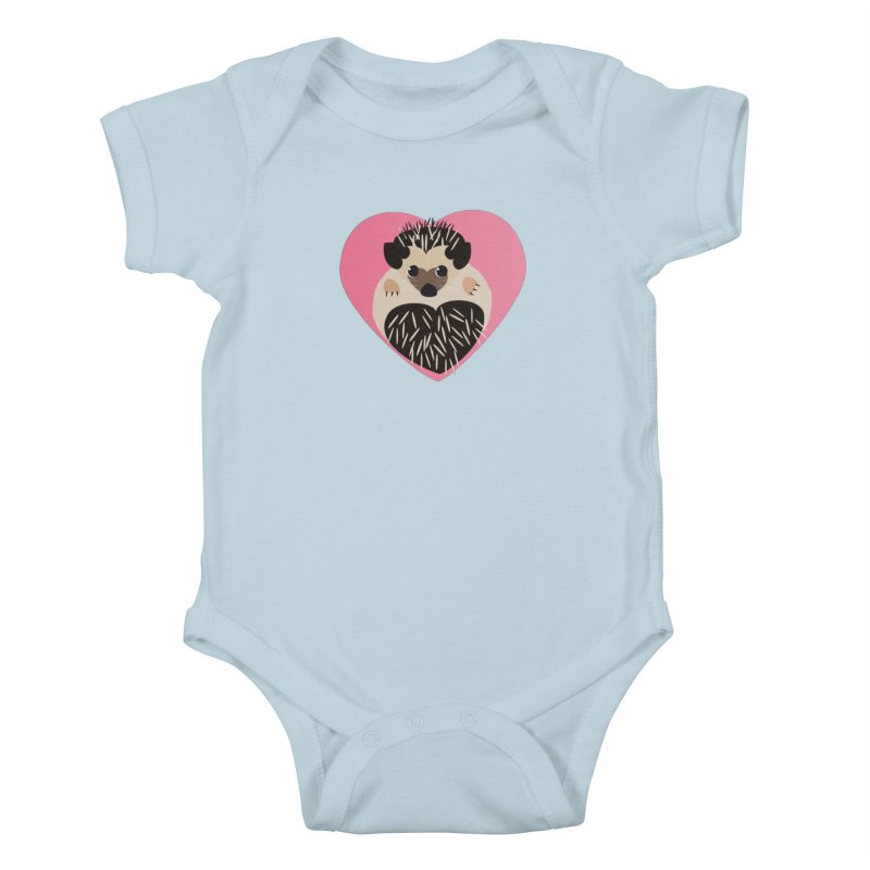 Hedgehog Loves You Kids Baby Bodysuit by Flourish & Flow's Artist Shop
