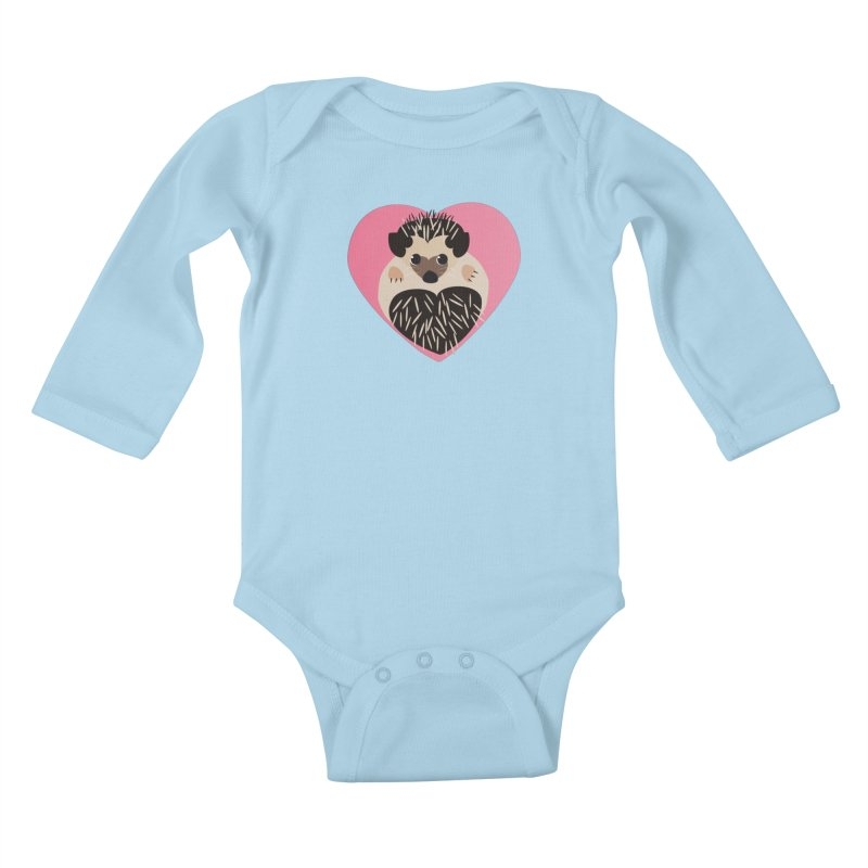 Hedgehog Loves You Kids Baby Longsleeve Bodysuit by Flourish & Flow's Artist Shop