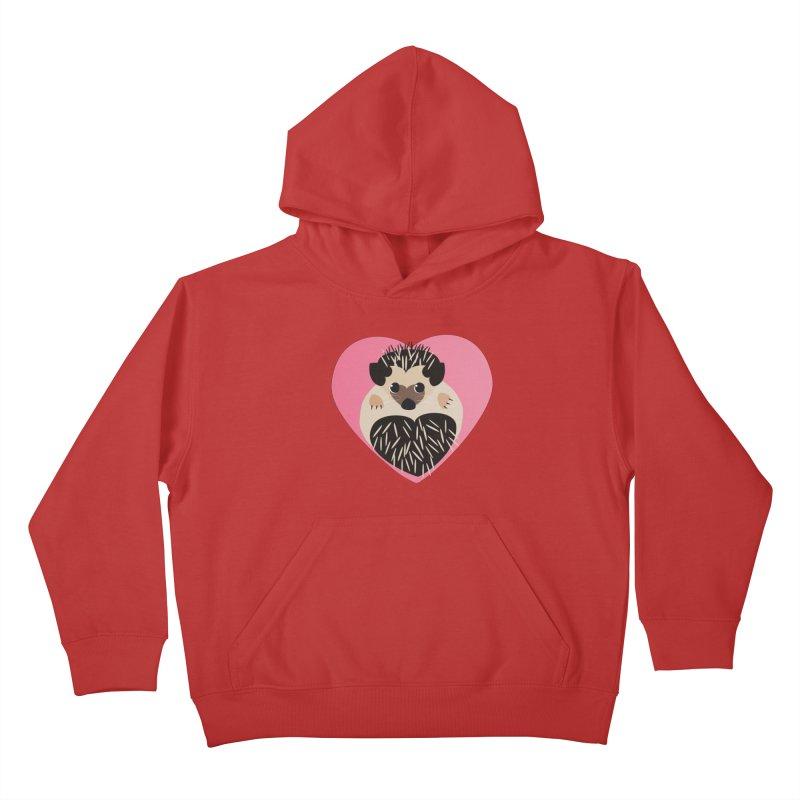 Hedgehog Loves You Kids Pullover Hoody by Flourish & Flow's Artist Shop