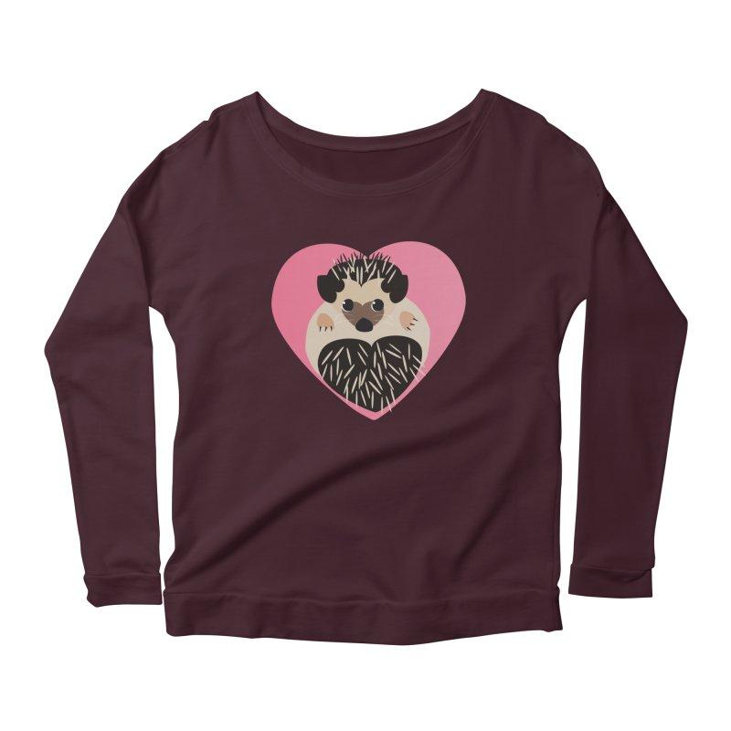Hedgehog Loves You Women's Longsleeve Scoopneck  by Flourish & Flow's Artist Shop
